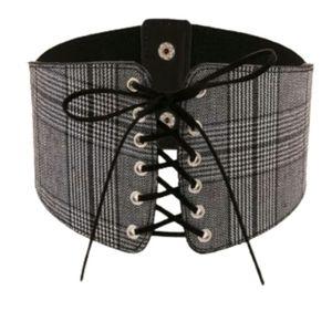 Corset Belt Grey Black Plaid Lace Up Punk Gothic